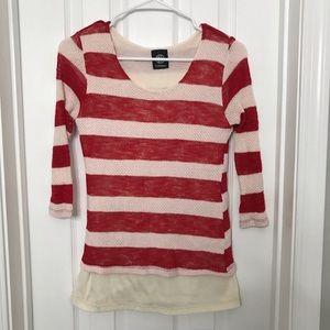 Bobeau Red / White Striped Blouse / Shirt Xmas